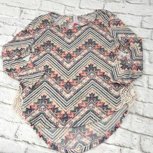Aztec Tribal Blouse Top Shirt Size Large
